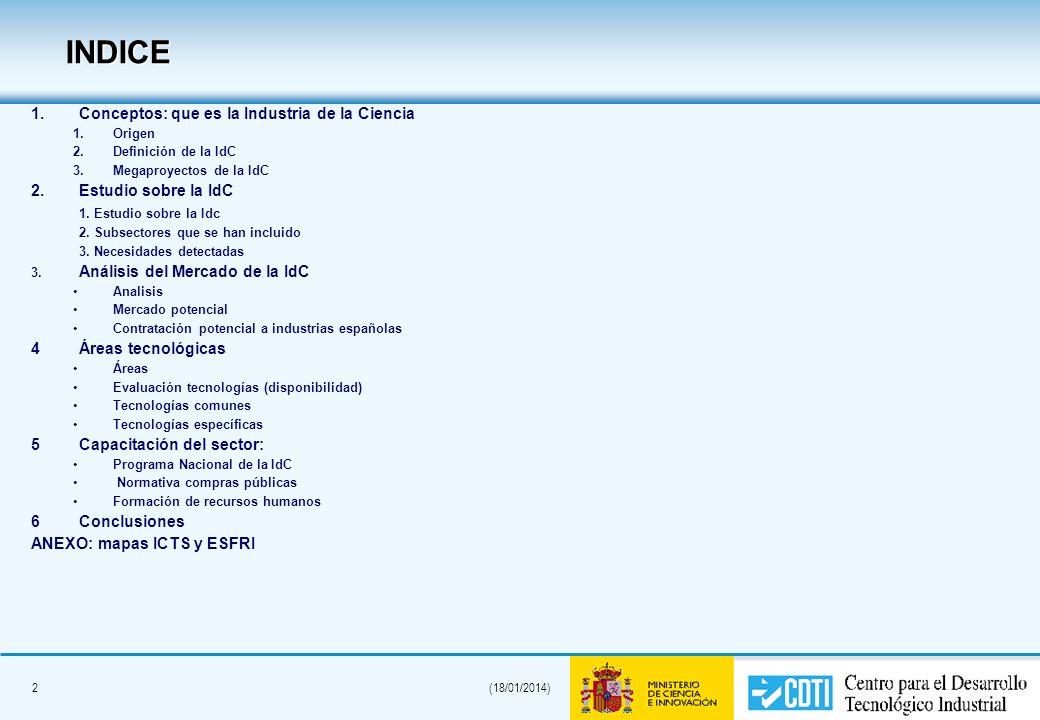2(18/01/2014) INDICE 1. 1.Conceptos: que es la Industria de la Ciencia 1. 1.Origen 2. 2.Definición de la IdC 3. 3.Megaproyectos de la IdC 2. 2.Estudio