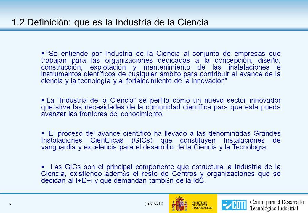 5(18/01/2014) 1.2 Definición: que es la Industria de la Ciencia Se entiende por Industria de la Ciencia al conjunto de empresas que trabajan para las