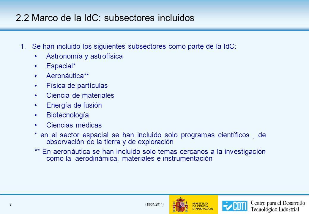 8(18/01/2014) 2.2 Marco de la IdC: subsectores incluidos 1.Se han incluido los siguientes subsectores como parte de la IdC: Astronomía y astrofísica E