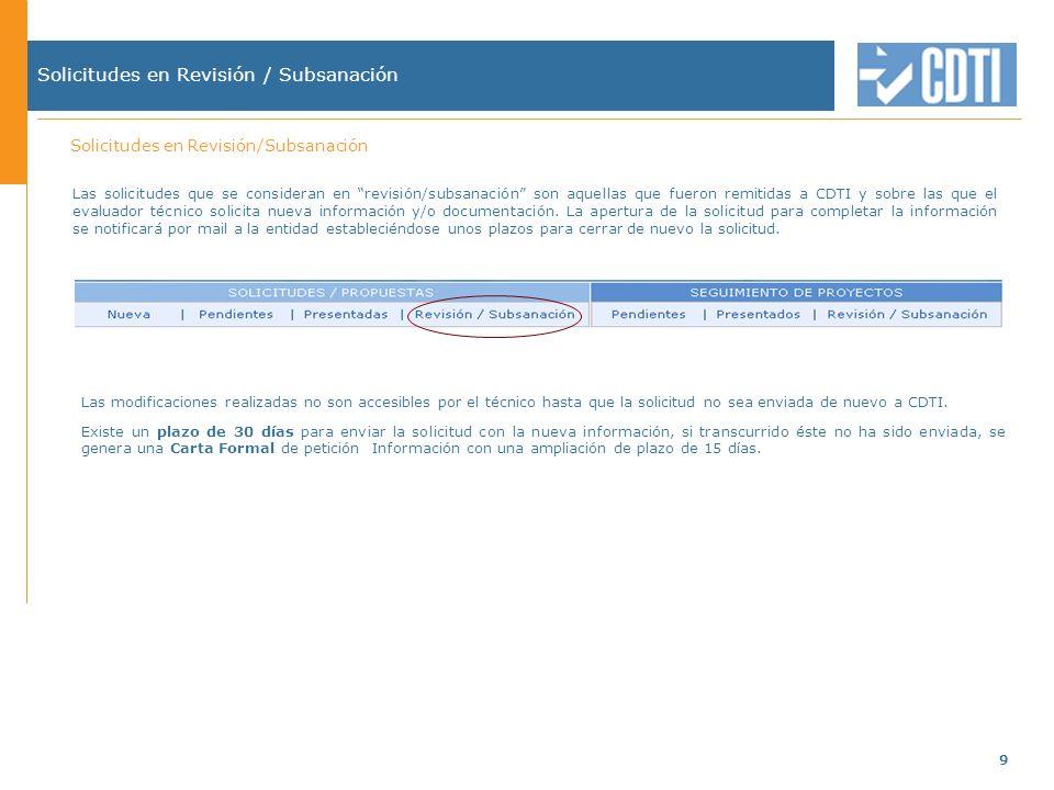 9 Solicitudes en Revisión / Subsanación Las modificaciones realizadas no son accesibles por el técnico hasta que la solicitud no sea enviada de nuevo a CDTI.