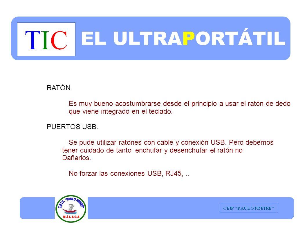 EL ULTRAPORTÁTIL RATÓN Es muy bueno acostumbrarse desde el principio a usar el ratón de dedo que viene integrado en el teclado.