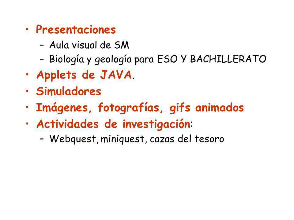 Presentaciones –Aula visual de SM –Biología y geología para ESO Y BACHILLERATO Applets de JAVA. Simuladores Imágenes, fotografías, gifs animados Activ