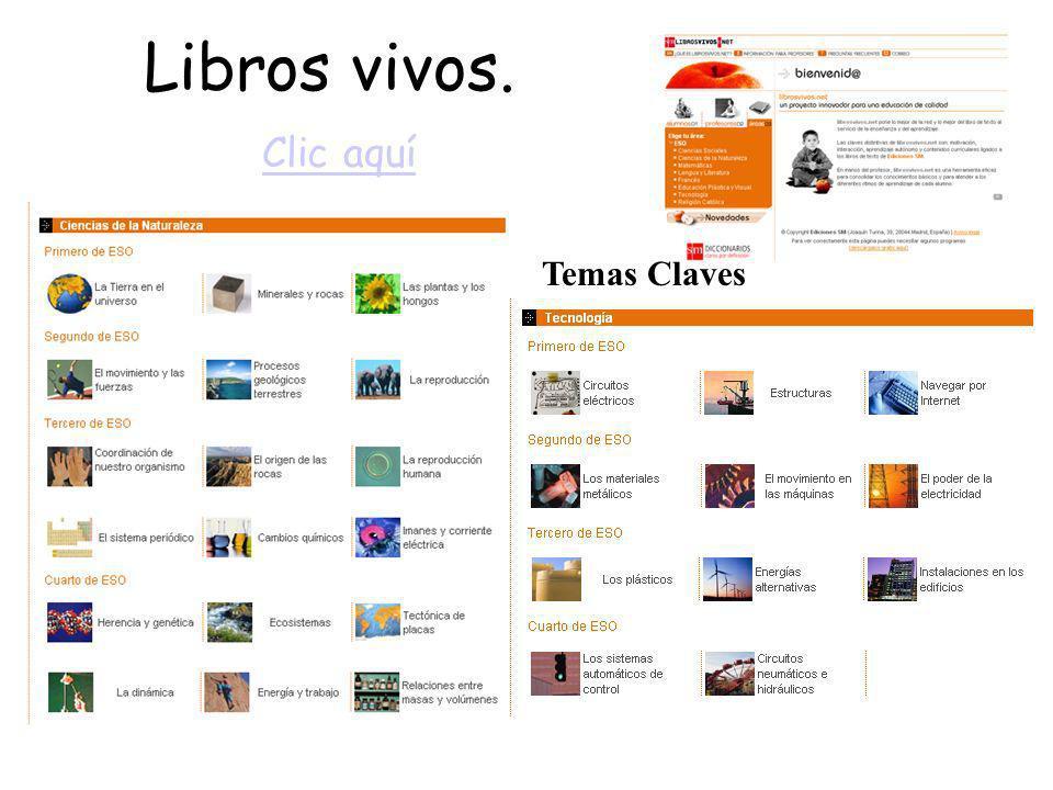 Libros vivos. Clic aquí Clic aquí Temas Claves