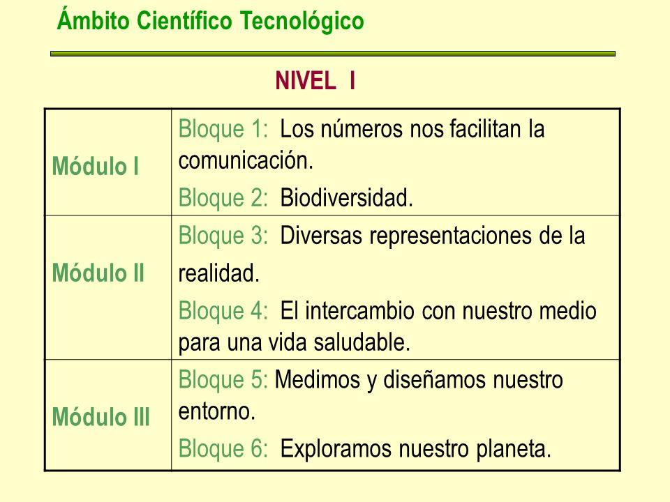 NIVEL I Ámbito Científico Tecnológico Módulo I Bloque 1: Los números nos facilitan la comunicación.