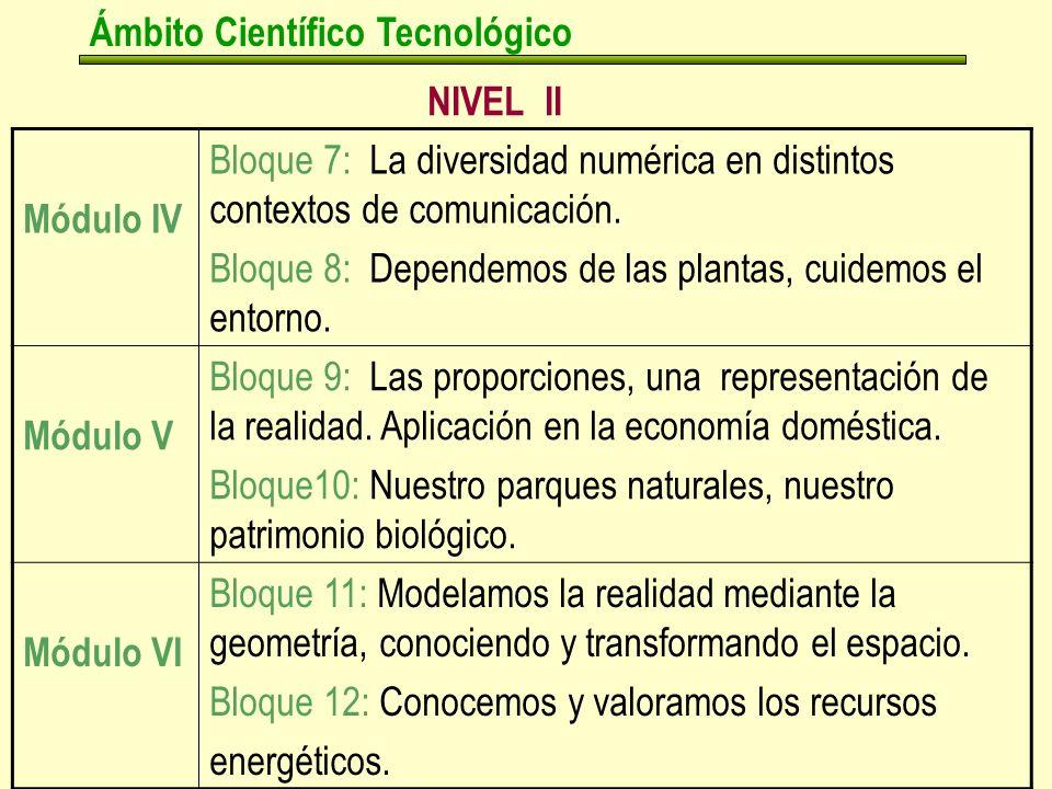 NIVEL II Ámbito Científico Tecnológico Módulo IV Bloque 7: La diversidad numérica en distintos contextos de comunicación.