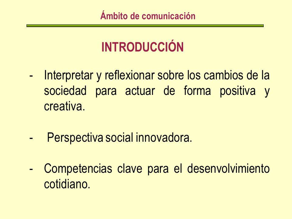 INTRODUCCIÓN Ámbito de comunicación -Interpretar y reflexionar sobre los cambios de la sociedad para actuar de forma positiva y creativa.