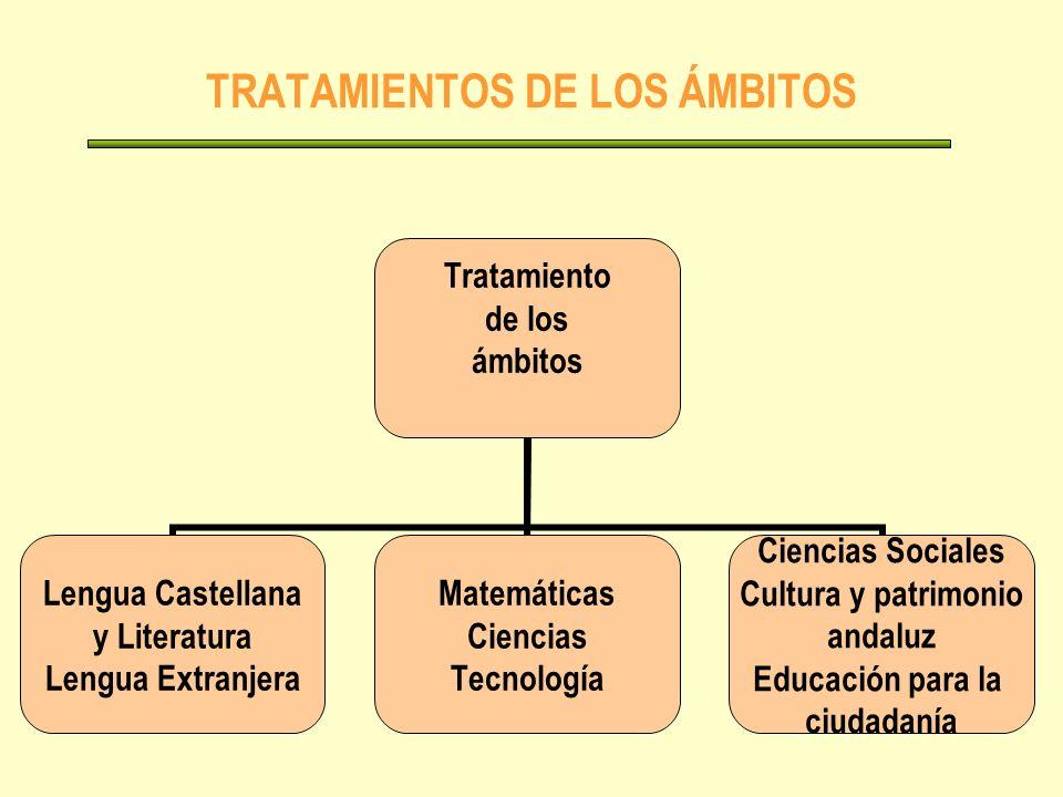 TRATAMIENTOS DE LOS ÁMBITOS Tratamiento de los ámbitos Lengua Castellana y Literatura Lengua Extranjera Matemáticas Ciencias Tecnología Ciencias Sociales Cultura y patrimonio andaluz Educación para la ciudadanía
