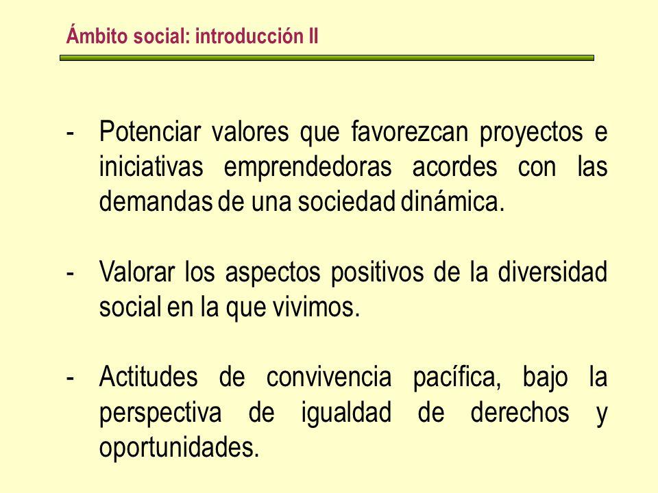 Ámbito social: introducción II -Potenciar valores que favorezcan proyectos e iniciativas emprendedoras acordes con las demandas de una sociedad dinámica.