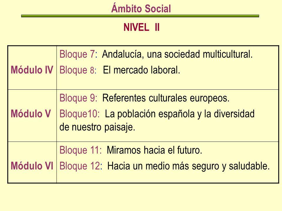 NIVEL II Ámbito Social Módulo IV Bloque 7: Andalucía, una sociedad multicultural.