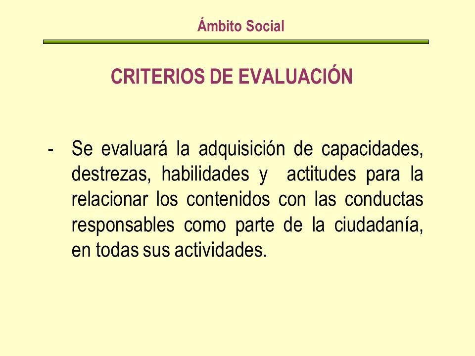 CRITERIOS DE EVALUACIÓN Ámbito Social -Se evaluará la adquisición de capacidades, destrezas, habilidades y actitudes para la relacionar los contenidos con las conductas responsables como parte de la ciudadanía, en todas sus actividades.