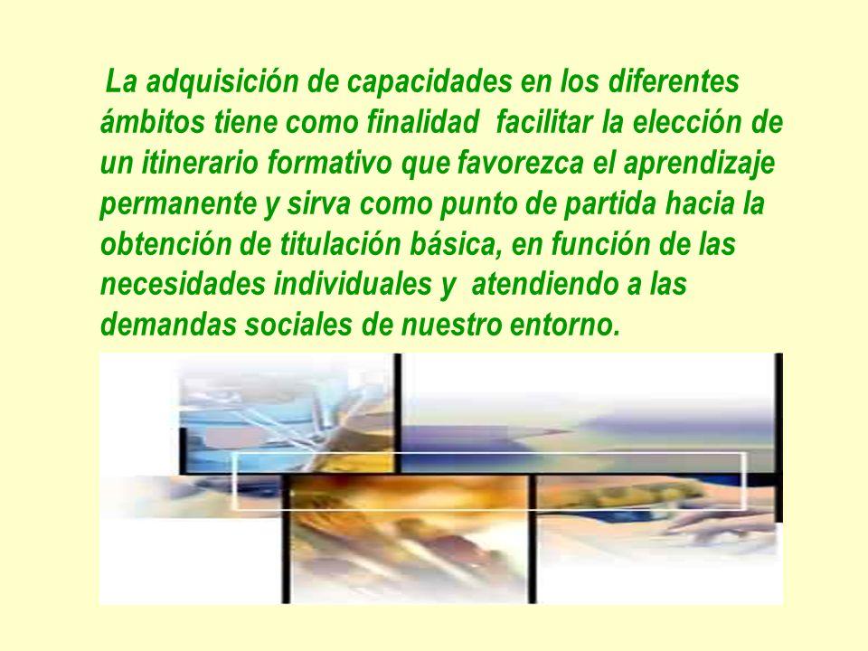 La adquisición de capacidades en los diferentes ámbitos tiene como finalidad facilitar la elección de un itinerario formativo que favorezca el aprendizaje permanente y sirva como punto de partida hacia la obtención de titulación básica, en función de las necesidades individuales y atendiendo a las demandas sociales de nuestro entorno.