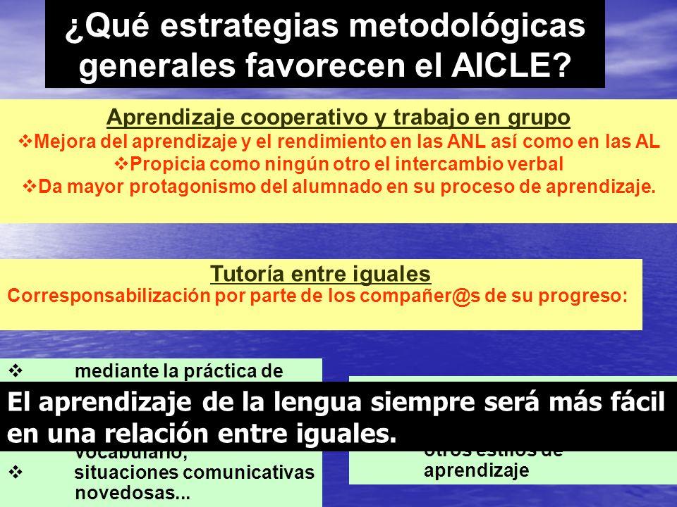 Aprendizaje cooperativo y trabajo en grupo Mejora del aprendizaje y el rendimiento en las ANL así como en las AL Propicia como ningún otro el intercam