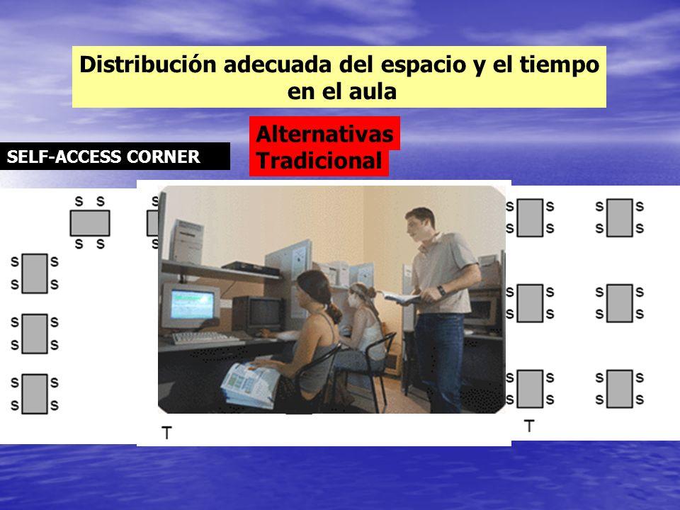 Distribución adecuada del espacio y el tiempo en el aula Tradicional Alternativas SELF-ACCESS CORNER