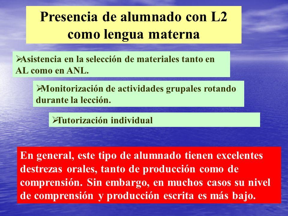 Presencia de alumnado con L2 como lengua materna Asistencia en la selección de materiales tanto en AL como en ANL. Monitorización de actividades grupa