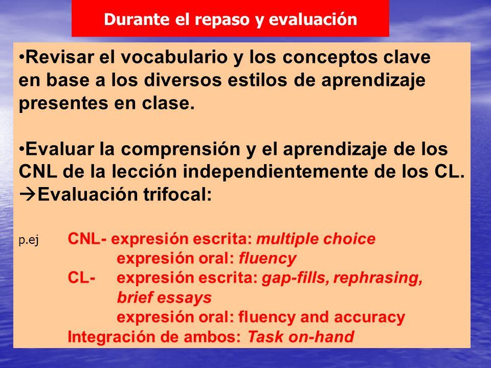 Revisar el vocabulario y los conceptos clave en base a los diversos estilos de aprendizaje presentes en clase. Evaluar la comprensión y el aprendizaje