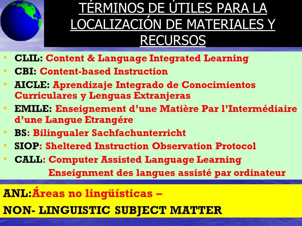 TÉRMINOS DE ÚTILES PARA LA LOCALIZACIÓN DE MATERIALES Y RECURSOS CLIL: Content & Language Integrated Learning CBI: Content-based Instruction AICLE: Ap