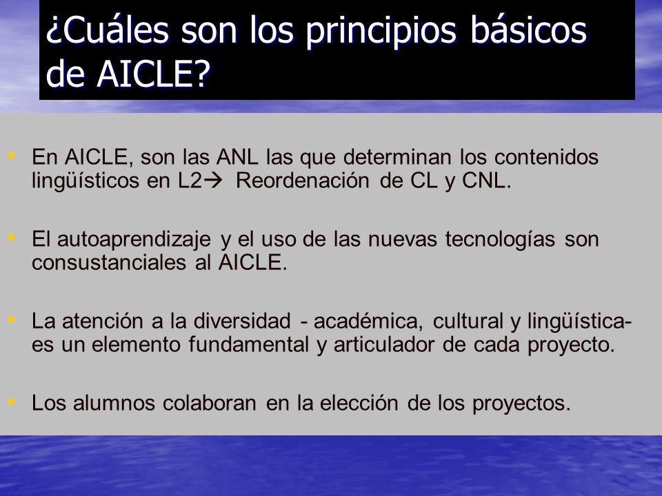 En AICLE, son las ANL las que determinan los contenidos lingüísticos en L2 Reordenación de CL y CNL. El autoaprendizaje y el uso de las nuevas tecnolo