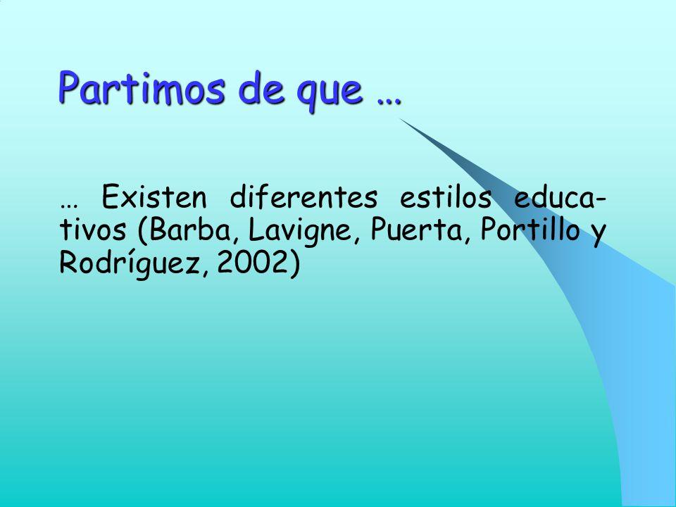 Partimos de que … … Existen diferentes estilos educa- tivos (Barba, Lavigne, Puerta, Portillo y Rodríguez, 2002)