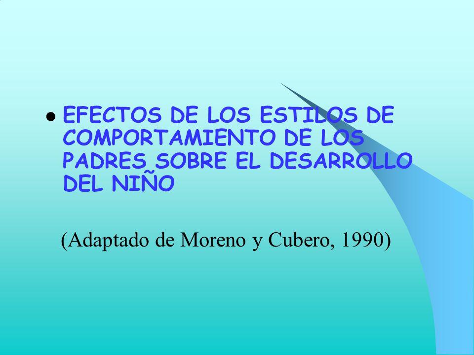 EFECTOS DE LOS ESTILOS DE COMPORTAMIENTO DE LOS PADRES SOBRE EL DESARROLLO DEL NIÑO (Adaptado de Moreno y Cubero, 1990)