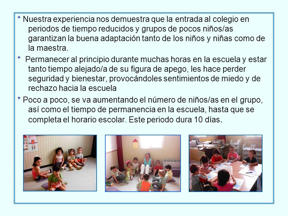 * Nuestra experiencia nos demuestra que la entrada al colegio en periodos de tiempo reducidos y grupos de pocos niños/as garantizan la buena adaptació