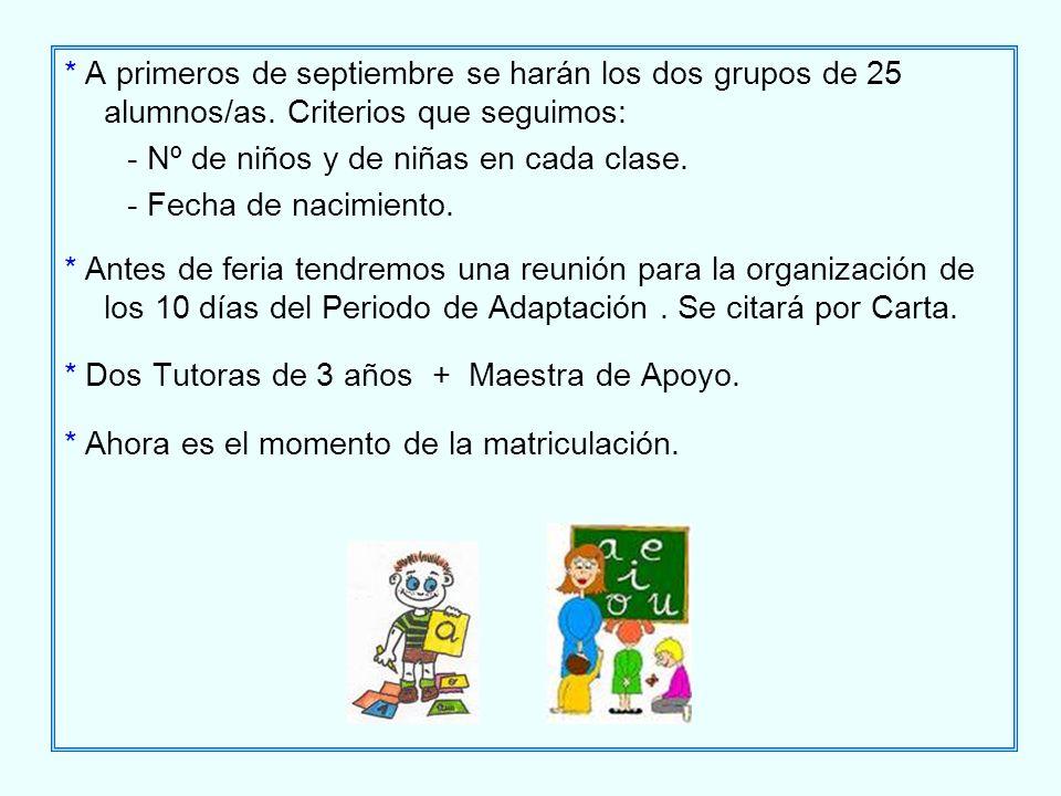 * A primeros de septiembre se harán los dos grupos de 25 alumnos/as. Criterios que seguimos: - Nº de niños y de niñas en cada clase. - Fecha de nacimi