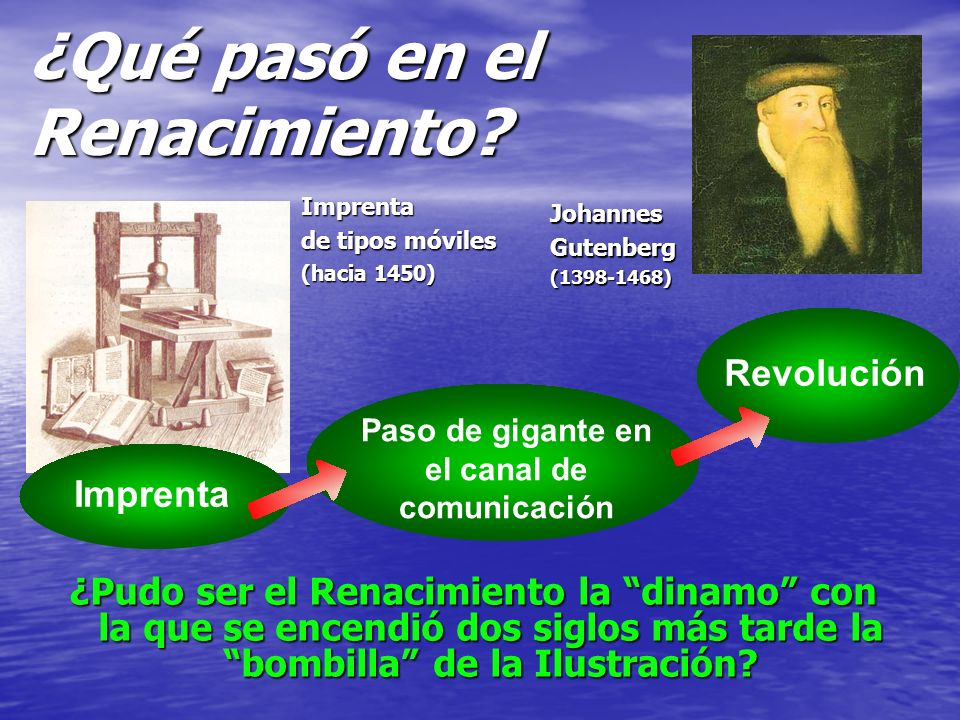 Paso de gigante en el canal de comunicación Revolución ¿Pudo ser el Renacimiento la dinamo con la que se encendió dos siglos más tarde la bombilla de la Ilustración.
