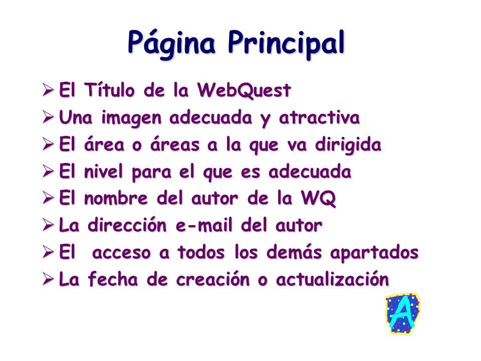 Página Principal El Título de la WebQuest El Título de la WebQuest Una imagen adecuada y atractiva Una imagen adecuada y atractiva El área o áreas a l