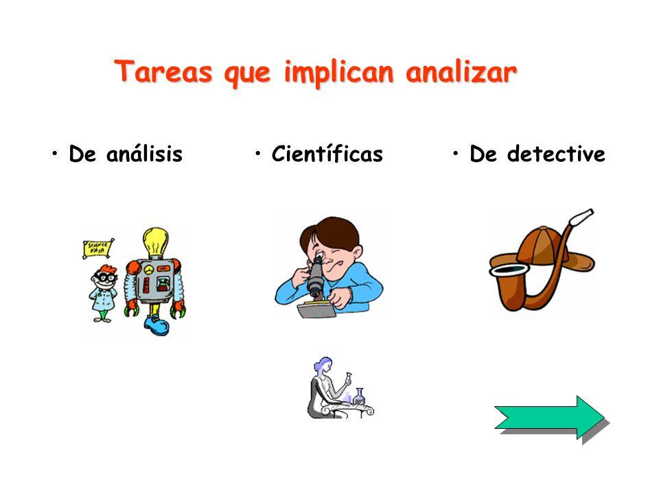 Tareas que implican analizar De análisis De detective Científicas