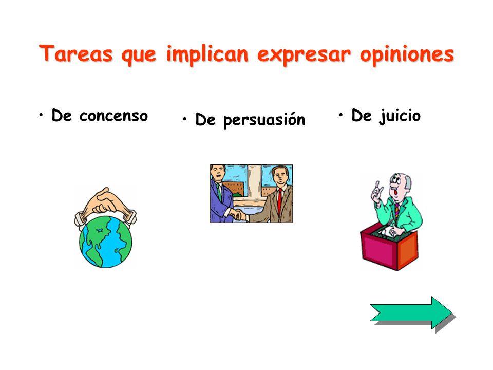 Tareas que implican expresar opiniones De concenso De juicio De persuasión