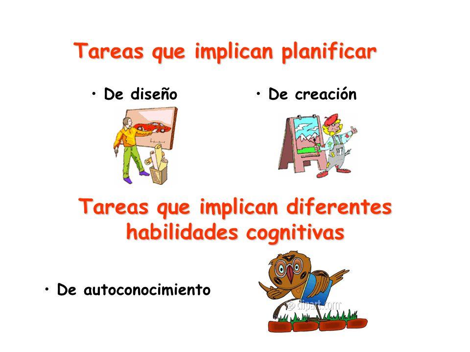 Tareas que implican planificar De diseño De creación Tareas que implican diferentes habilidades cognitivas De autoconocimiento
