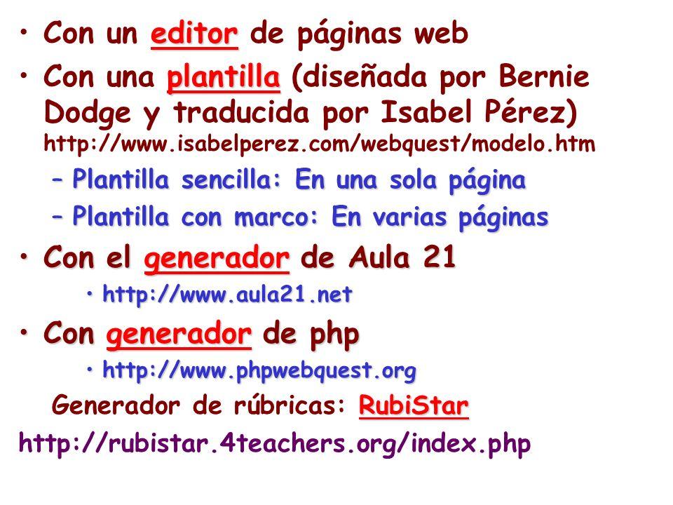 editorCon un editor de páginas web plantillaCon una plantilla (diseñada por Bernie Dodge y traducida por Isabel Pérez) http://www.isabelperez.com/webq