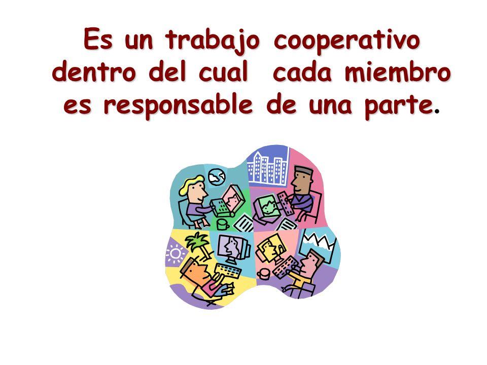 Es un trabajo cooperativo dentro del cual cada miembro es responsable de una parte Es un trabajo cooperativo dentro del cual cada miembro es responsab