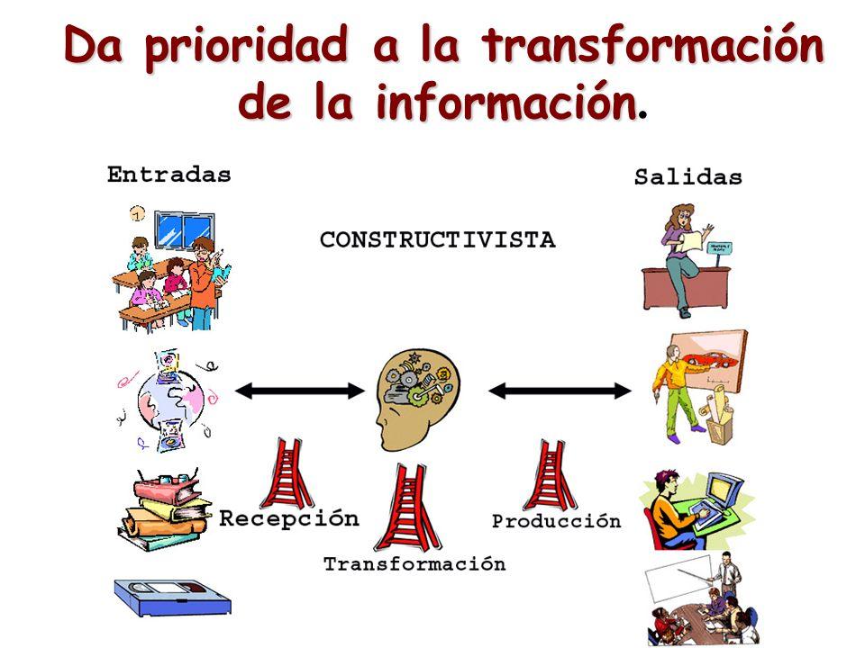 Da prioridad a la transformación de la información Da prioridad a la transformación de la información.