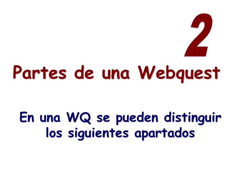 Partes de una Webquest En una WQ se pueden distinguir los siguientes apartados