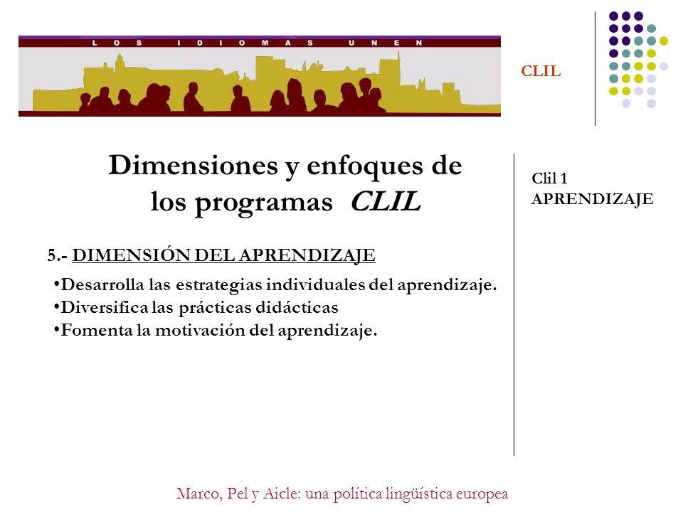 Marco, Pel y Aicle: una política lingüística europea CLIL Dimensiones y enfoques de los programas CLIL Clil 1 APRENDIZAJE 5.- DIMENSIÓN DEL APRENDIZAJ