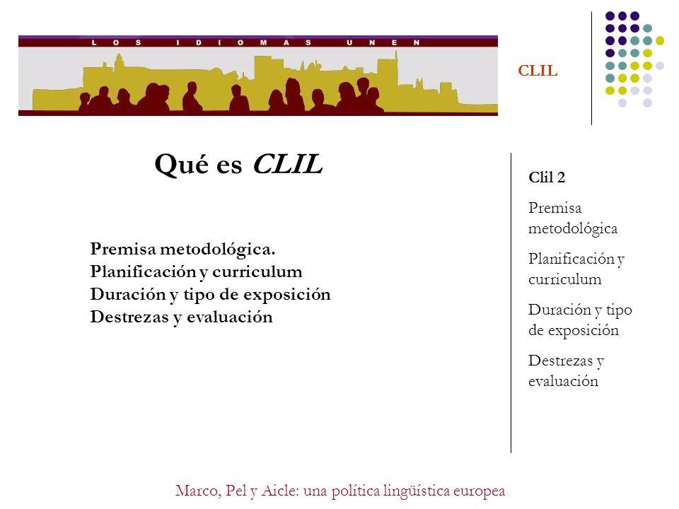 Marco, Pel y Aicle: una política lingüística europea CLIL Qué es CLIL Clil 2 Premisa metodológica Planificación y curriculum Duración y tipo de exposi