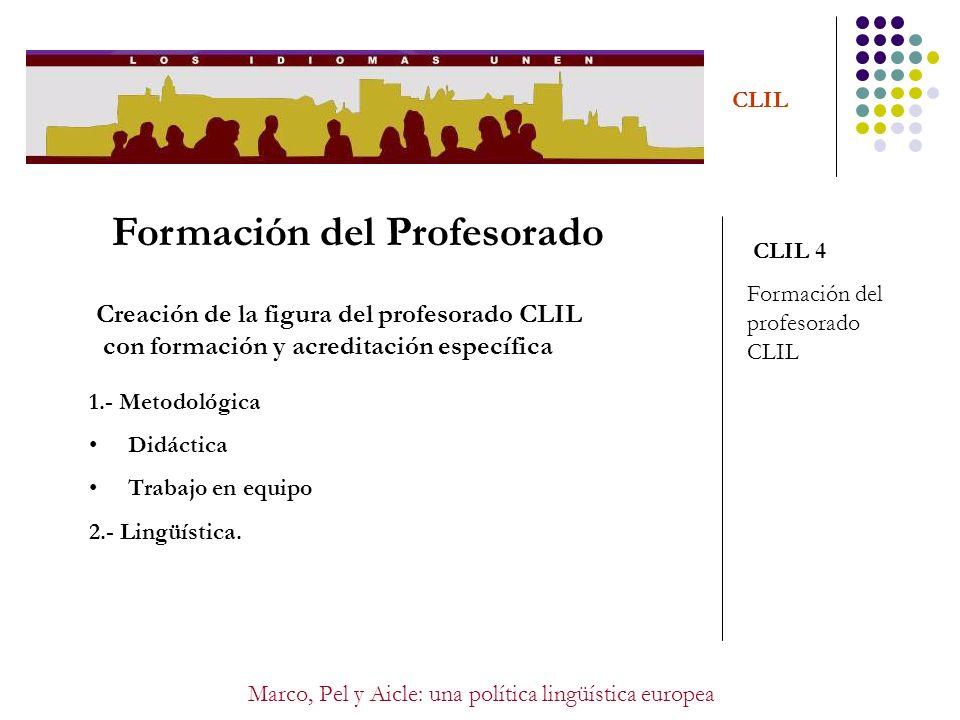 Marco, Pel y Aicle: una política lingüística europea CLIL Formación del Profesorado CLIL 4 Formación del profesorado CLIL Creación de la figura del pr