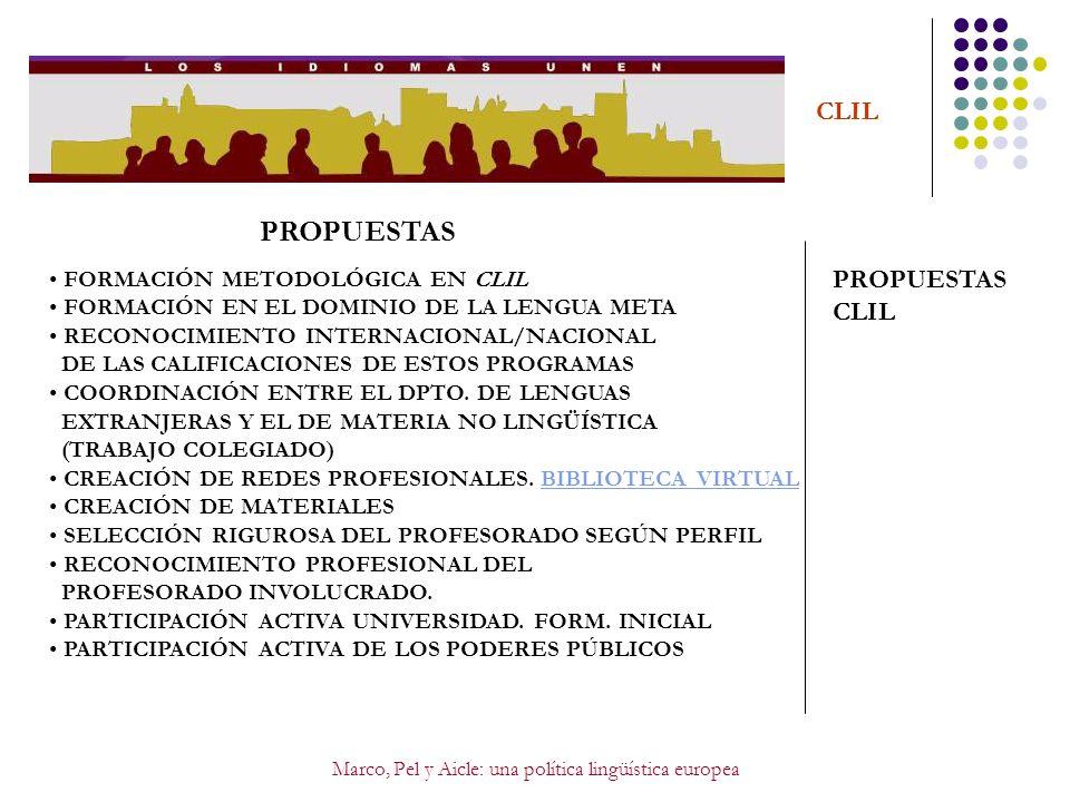 Marco, Pel y Aicle: una política lingüística europea CLIL PROPUESTAS PROPUESTAS CLIL FORMACIÓN METODOLÓGICA EN CLIL FORMACIÓN EN EL DOMINIO DE LA LENG