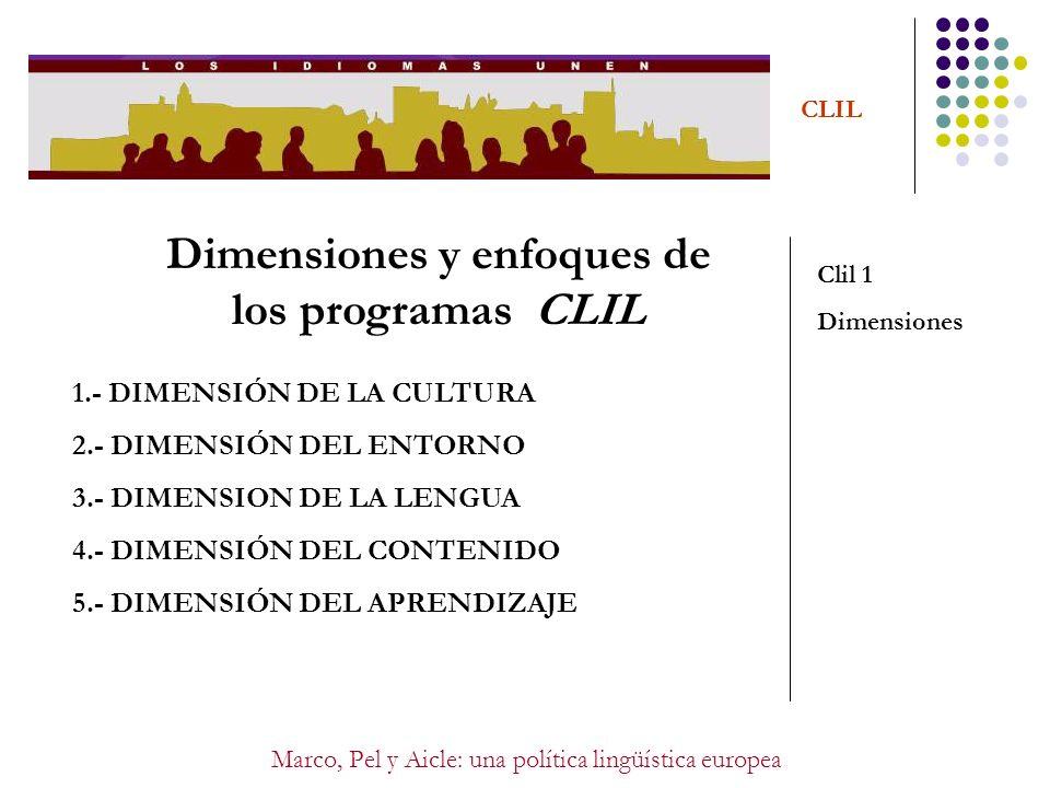 Marco, Pel y Aicle: una política lingüística europea CLIL PROPUESTAS PROPUESTAS CLIL FORMACIÓN METODOLÓGICA EN CLIL FORMACIÓN EN EL DOMINIO DE LA LENGUA META RECONOCIMIENTO INTERNACIONAL/NACIONAL DE LAS CALIFICACIONES DE ESTOS PROGRAMAS COORDINACIÓN ENTRE EL DPTO.