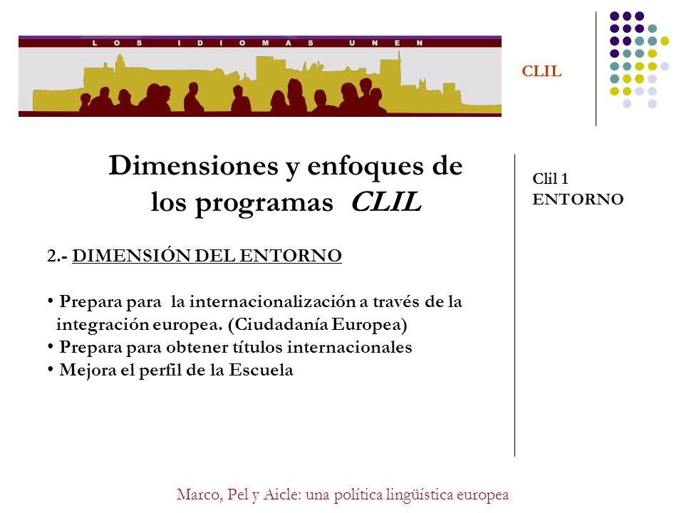 Marco, Pel y Aicle: una política lingüística europea CLIL Dimensiones y enfoques de los programas CLIL Clil 1 ENTORNO 2.- DIMENSIÓN DEL ENTORNO Prepar
