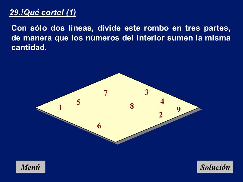 Menú 28.Romperelojes: Divide la esfera del reloj en seis partes, de manera que en cada parte la suma de los números contenidos sea la misma.