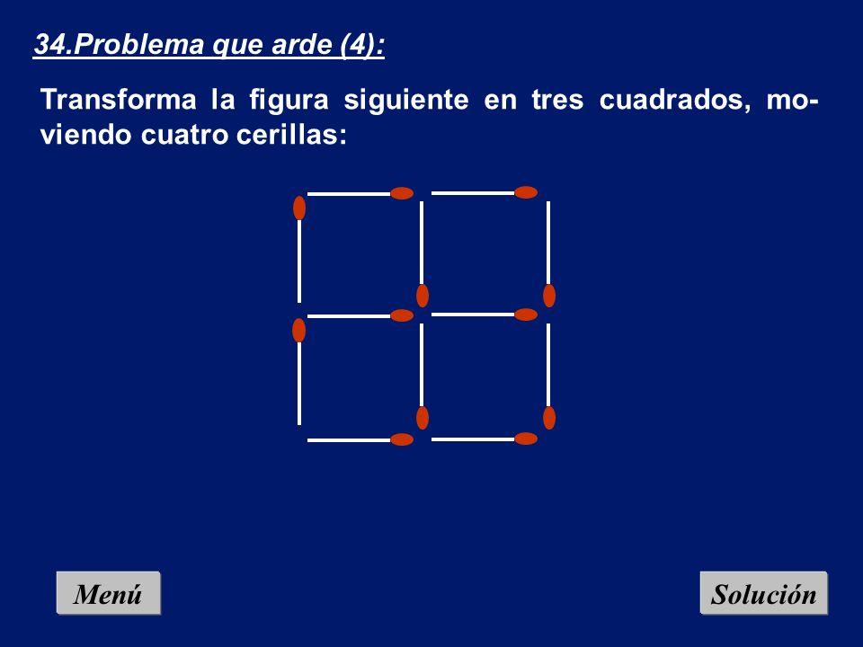 Menú 33.Problema que arde (3): Tenemos doce cerillas dispuestas en rueda hexagonal, que forman 6 triángulos equiláteros. Muestra cómo formar 3 triángu