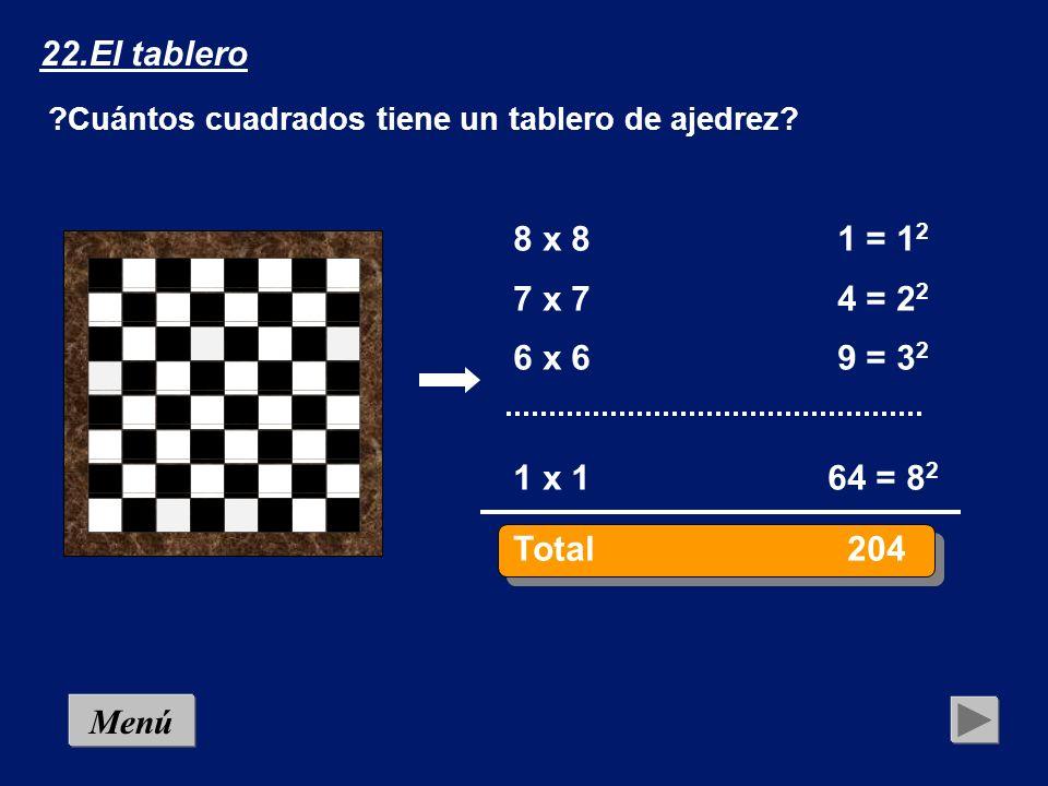Menú 22.El tablero ¿Cuántos cuadrados tiene un tablero de ajedrez? Solución