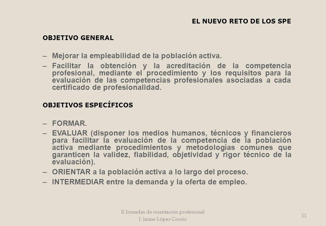 EL NUEVO RETO DE LOS SPE OBJETIVO GENERAL –Mejorar la empleabilidad de la población activa. –Facilitar la obtención y la acreditación de la competenci