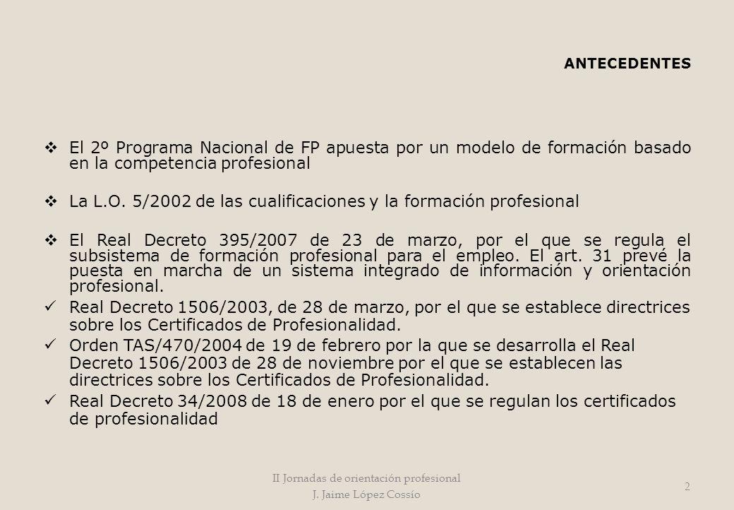 ANTECEDENTES El 2º Programa Nacional de FP apuesta por un modelo de formación basado en la competencia profesional La L.O. 5/2002 de las cualificacion