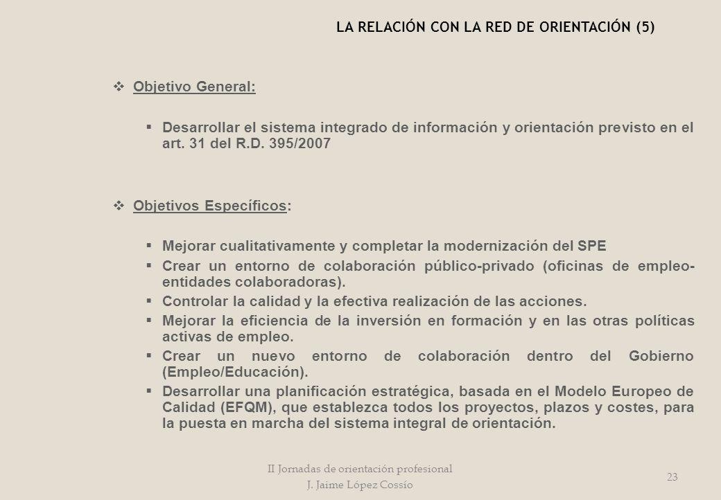 Objetivo General: Desarrollar el sistema integrado de información y orientación previsto en el art. 31 del R.D. 395/2007 Objetivos Específicos: Mejora