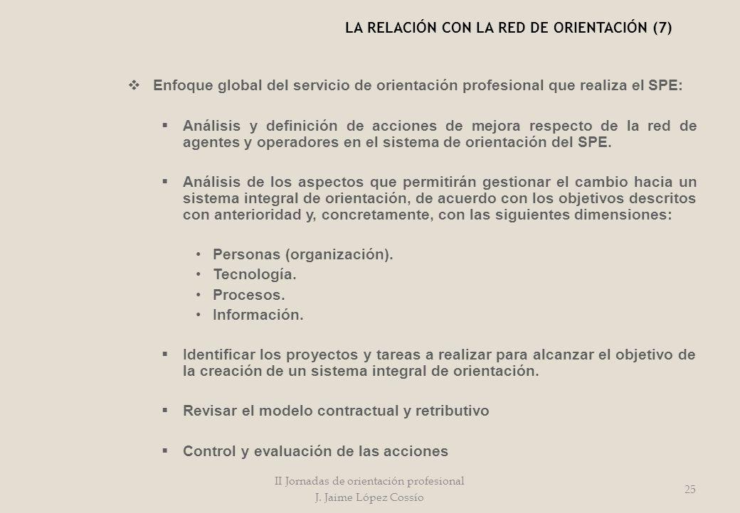 Enfoque global del servicio de orientación profesional que realiza el SPE: Análisis y definición de acciones de mejora respecto de la red de agentes y
