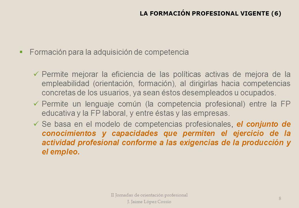 Formación para la adquisición de competencia Permite mejorar la eficiencia de las políticas activas de mejora de la empleabilidad (orientación, formac