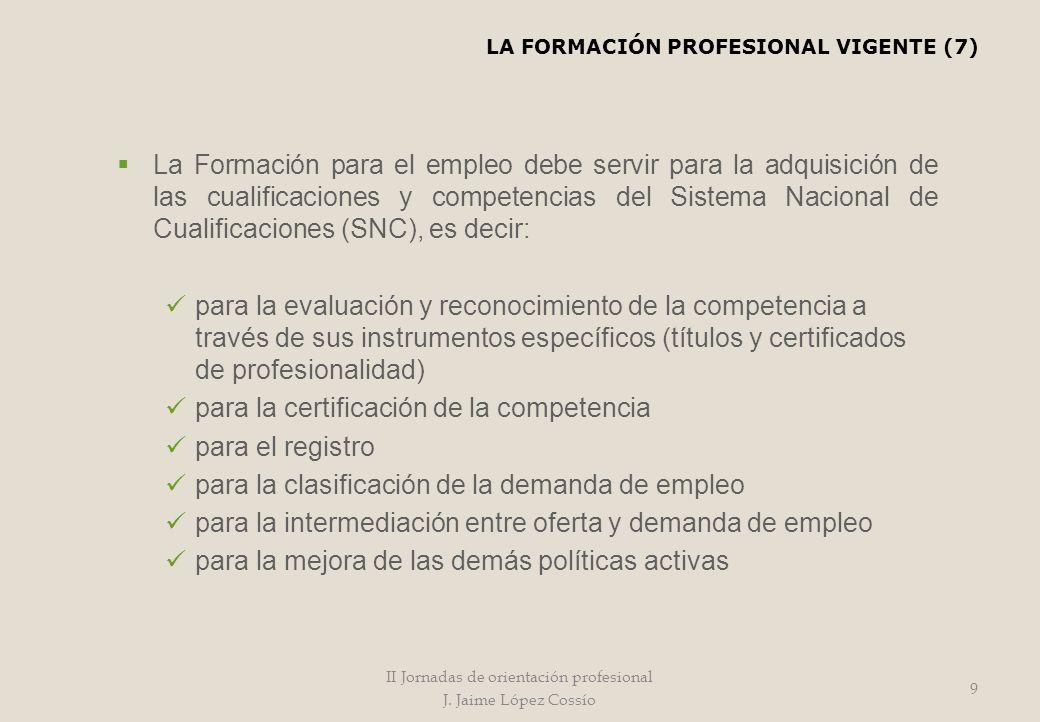 II Jornadas de orientación profesional J. Jaime López Cossío 9 La Formación para el empleo debe servir para la adquisición de las cualificaciones y co