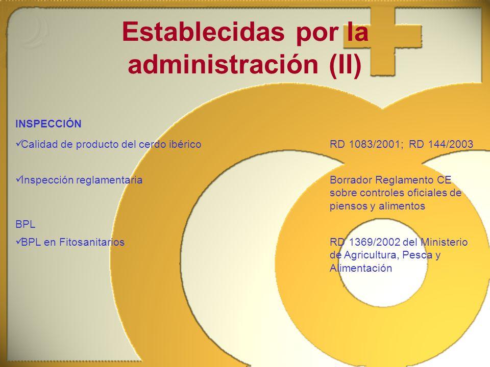 Establecidas por la administración (II) INSPECCIÓN Calidad de producto del cerdo ibéricoRD 1083/2001; RD 144/2003 Inspección reglamentariaBorrador Reg